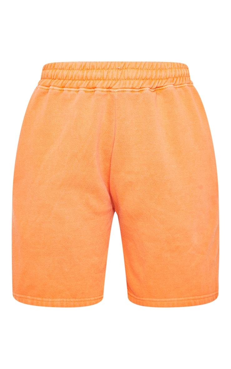 Bright Orange Washed Sweat Runner Shorts 6