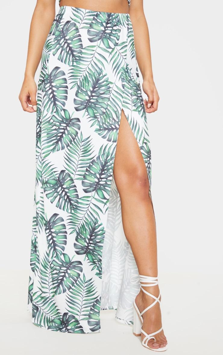 White Leaf Print Printed High Waisted Split Detail Maxi Skirt 2