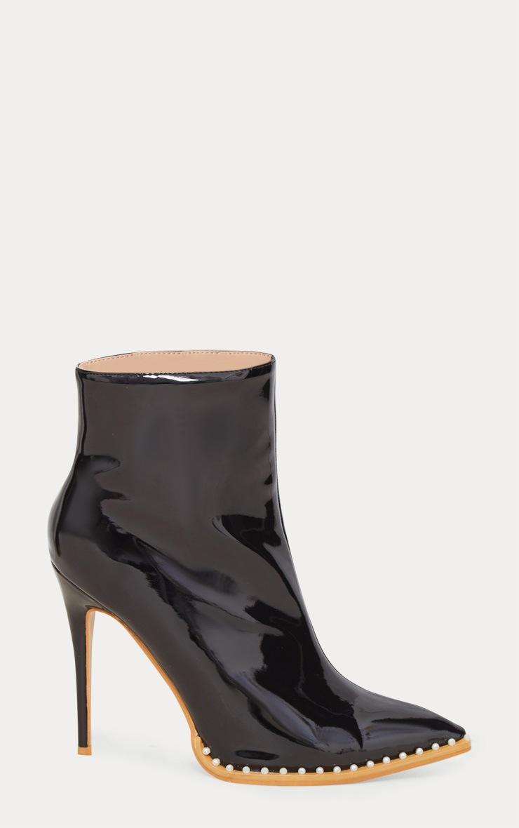 Black Pearl Embellished Ankle Boot 4