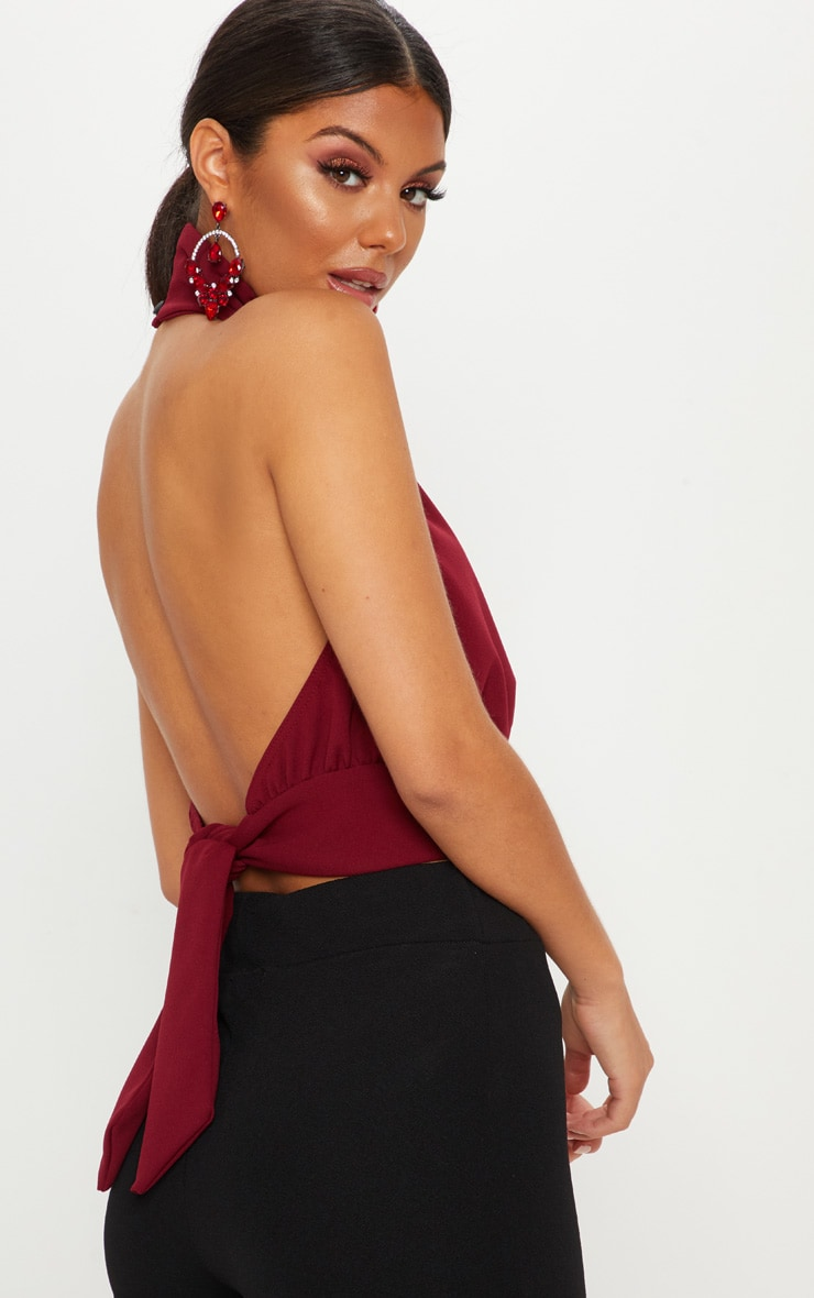 Burgundy Backless Halterneck Top 1