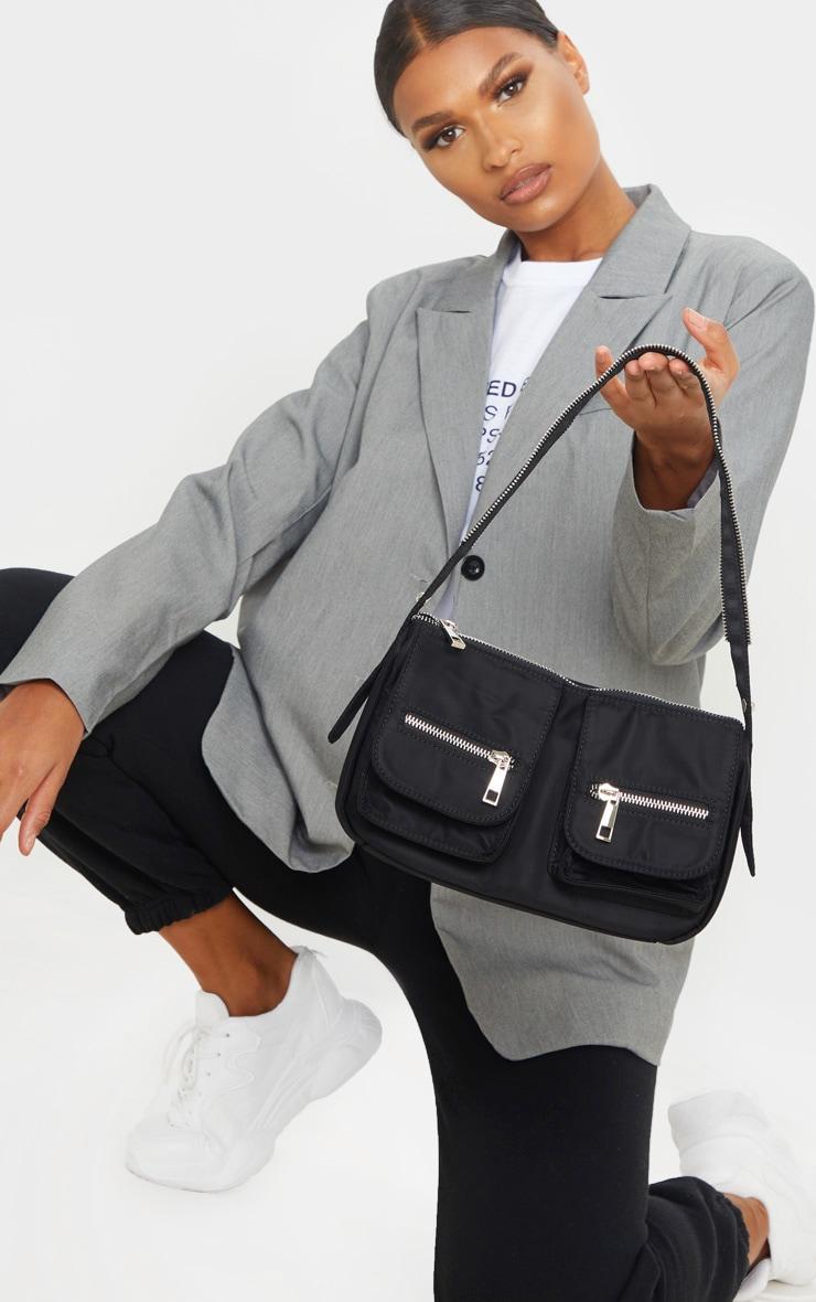 Black Nylon Double Pocket Shoulder Bag 1