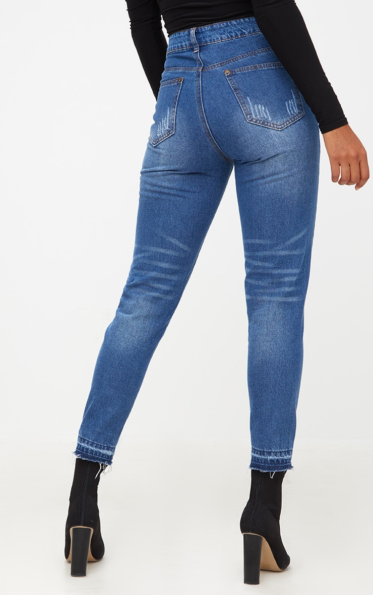 Dark Wash Drop Hem Mom Jean 3