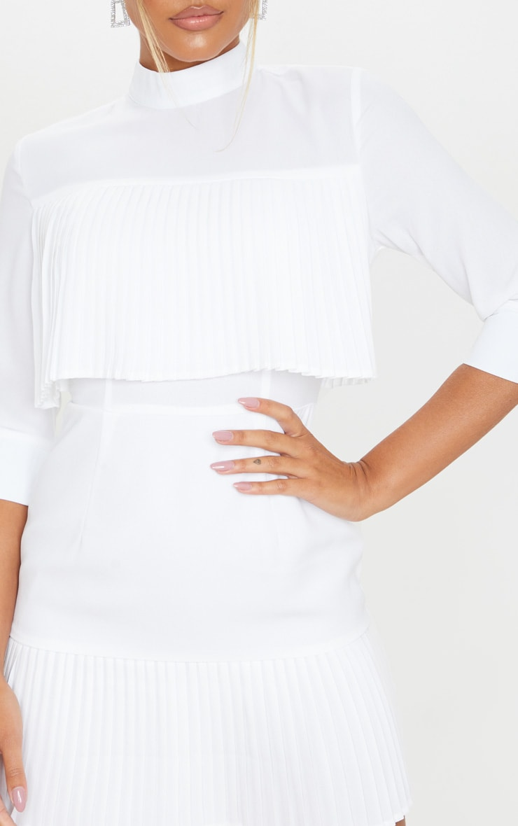 White Pleated Detail Frill Hem Bodycon Dress 5