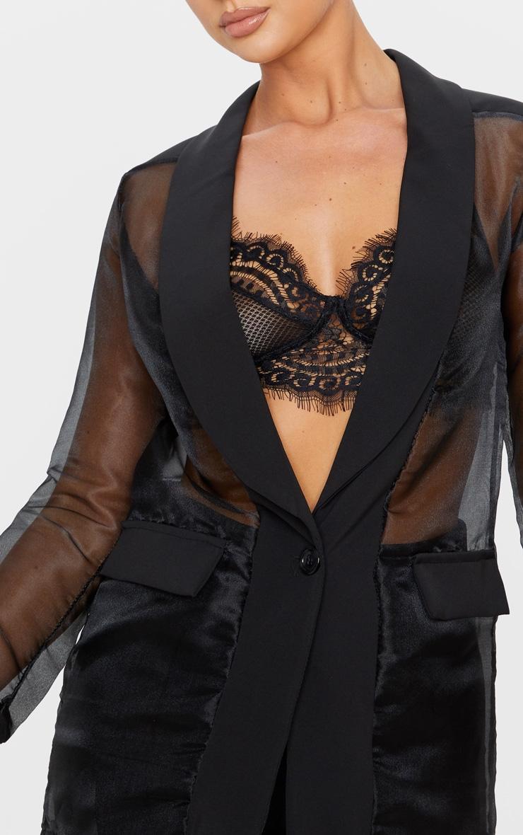 Black Organza Sheer Blazer 5