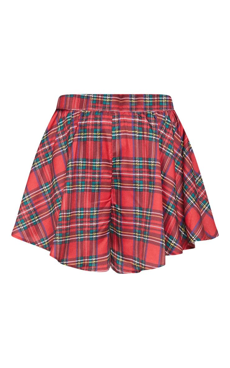 Red Tartan Check Floaty Shorts 3