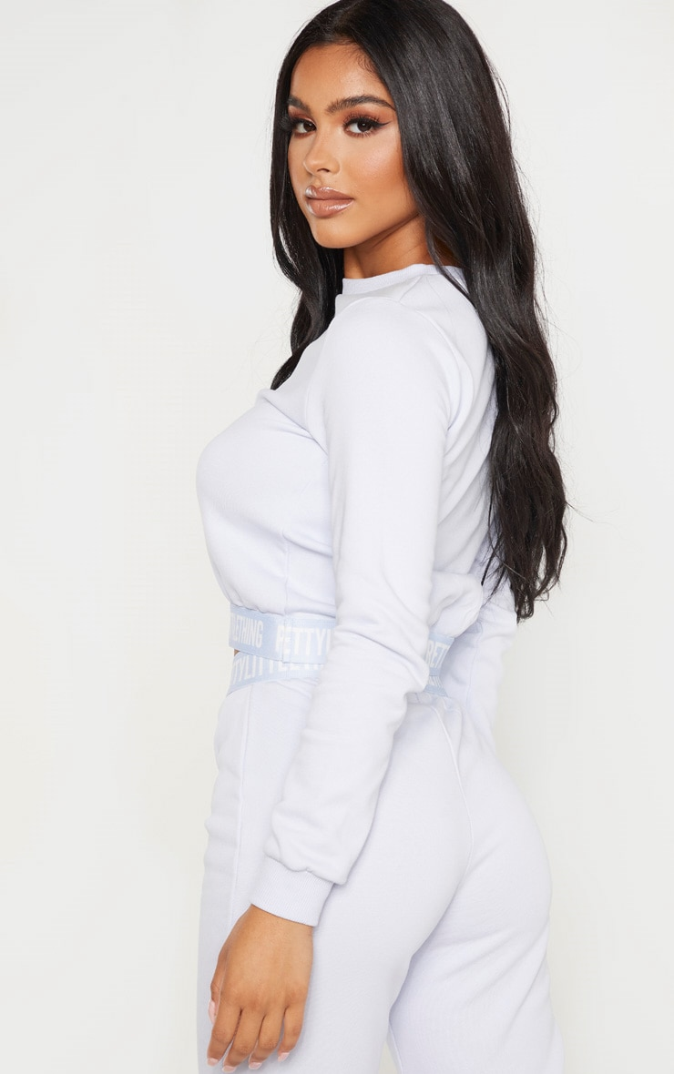 PRETTYLITTLETHING Petite Baby Blue Lounge Sweat 2