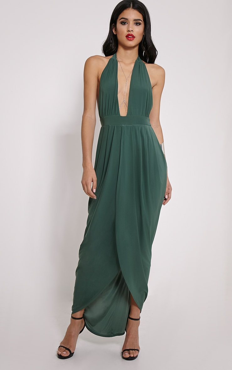 Biba Forest Green Halterneck Maxi Dress 1