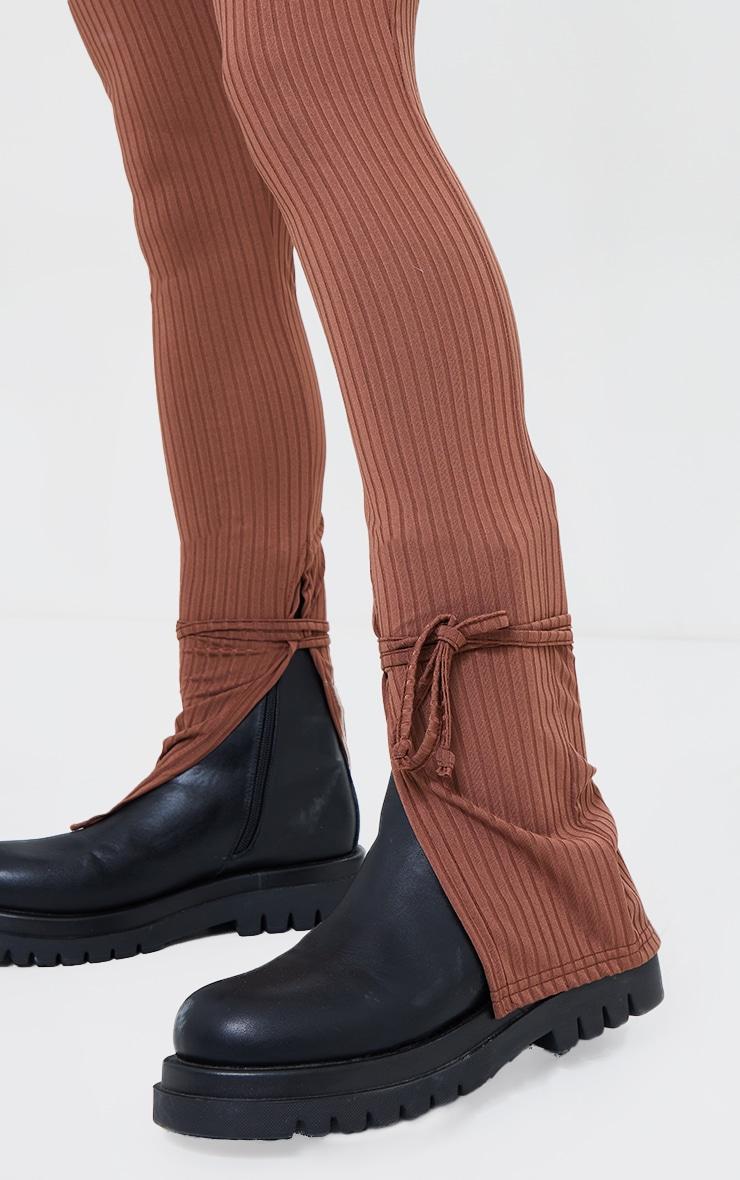 Brown Rib Split Tie Ankle Leggings 4