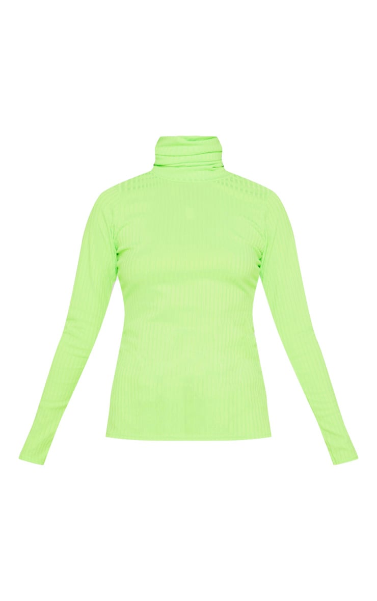 Neon Lime Rib Roll Neck Long Sleeve Top 4