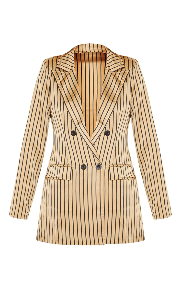 Stone Satin Pin Stripe Double Breasted Blazer  3