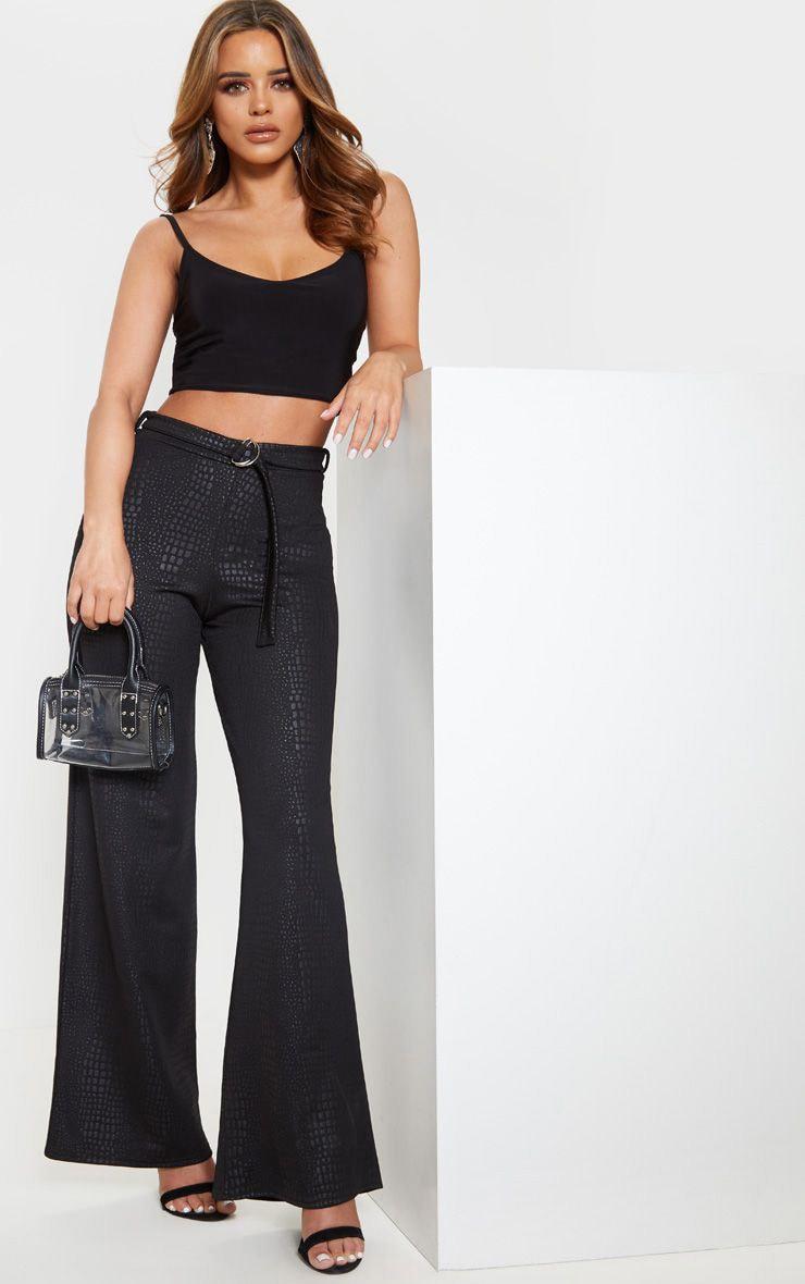Petite Black Snake Effect Loop Belt Wide Trousers 1
