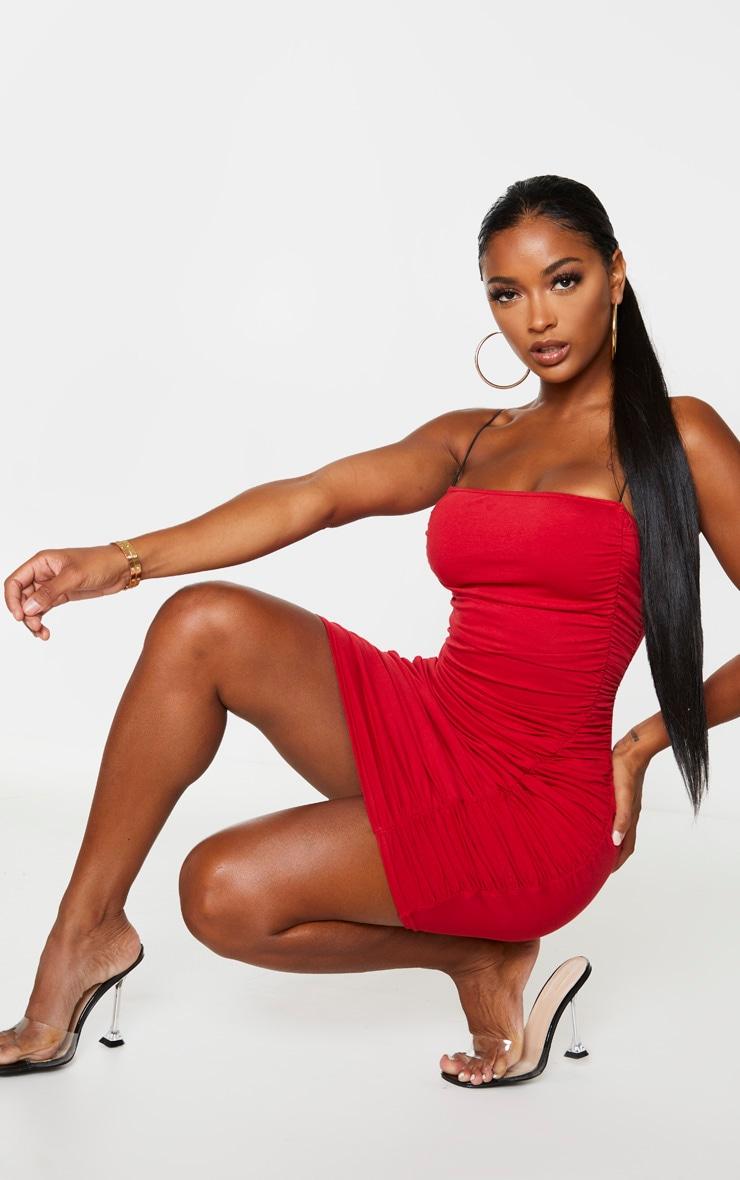 Shape Red Cotton Spaghetti Strap Ruched Bodycon Dress