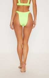 22d81e5b52 Lime High Leg Elasticated Bikini Bottom image 4