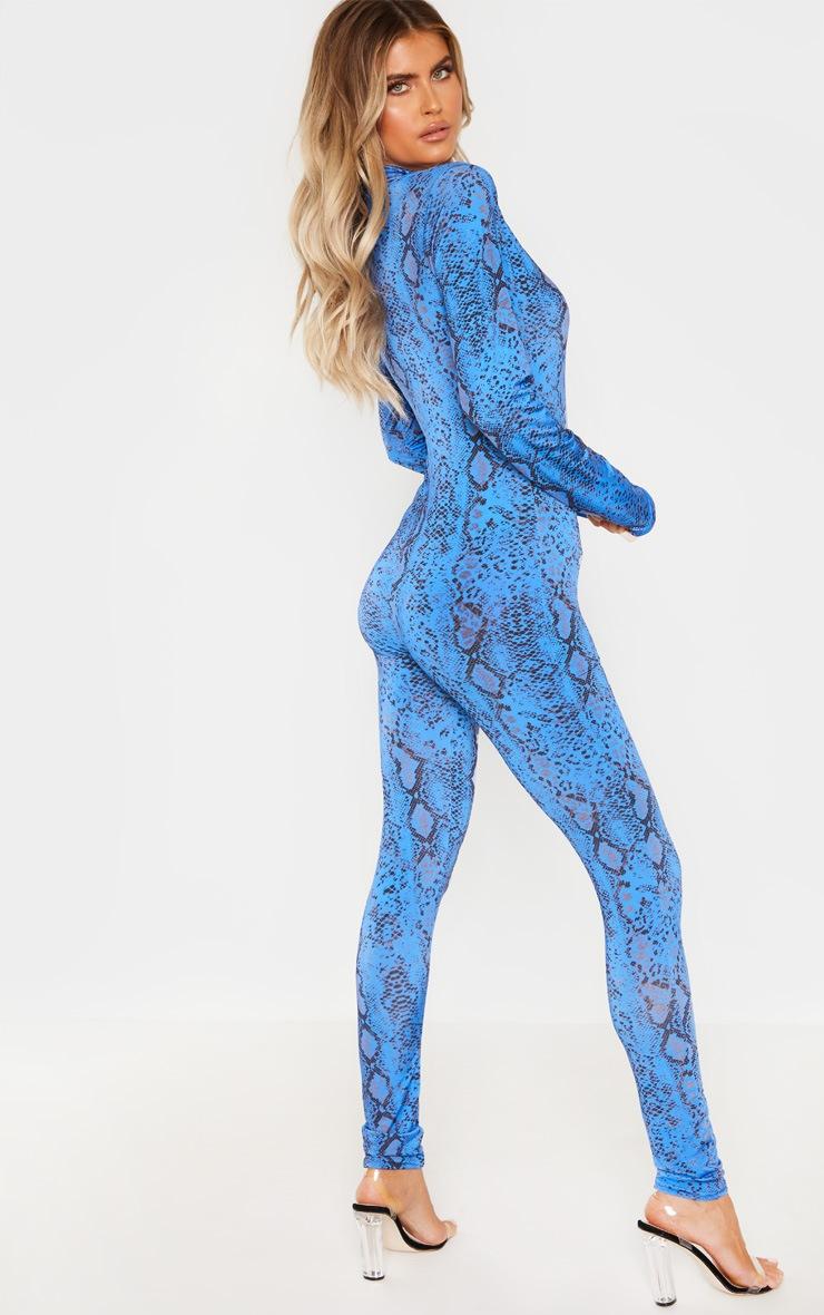 Tall Blue Snake Print Zip Jumpsuit 3