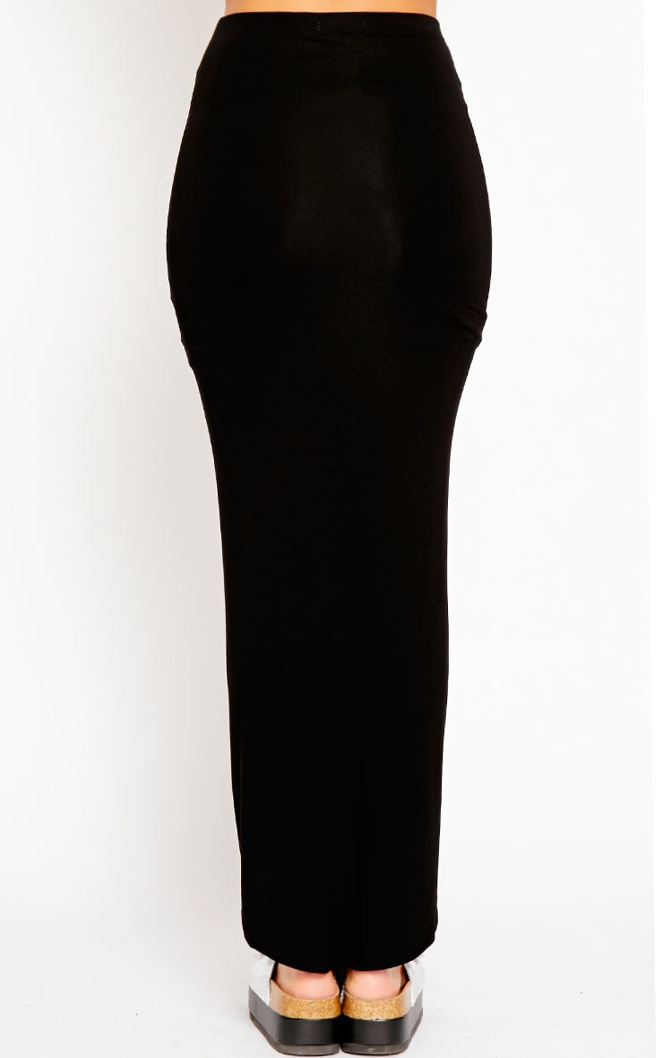 Omari Black Ruched Front Jersey Maxi Skirt 4