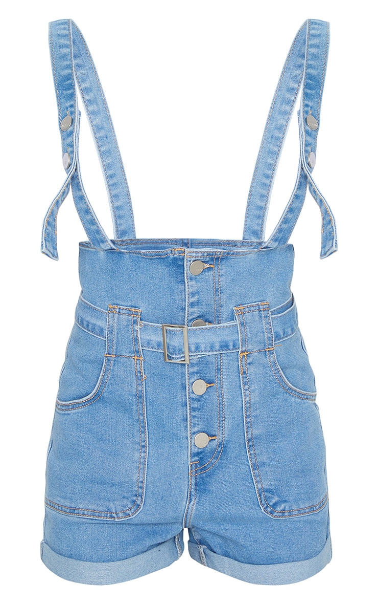 Light Blue Wash Button Through Dungaree Shorts 5