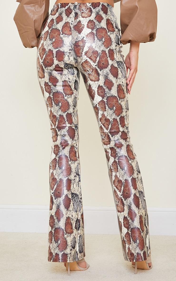 Tall Brown Snake Print PU Flared Pants 3
