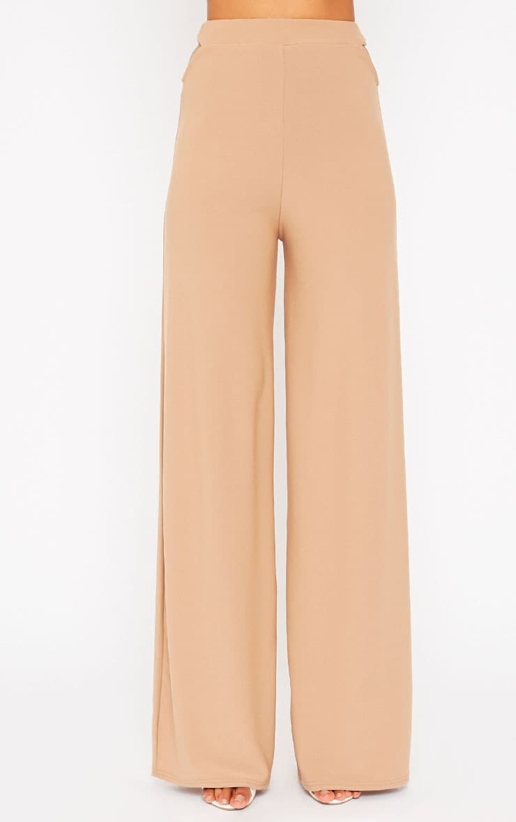 Elphina Camel Cut Out Palazzo Trousers 4