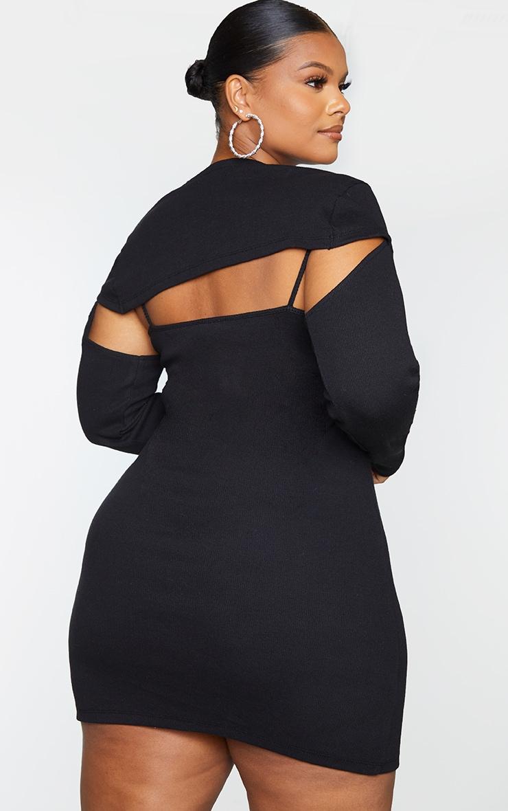Plus Black Two Piece Thick Rib Dress 2