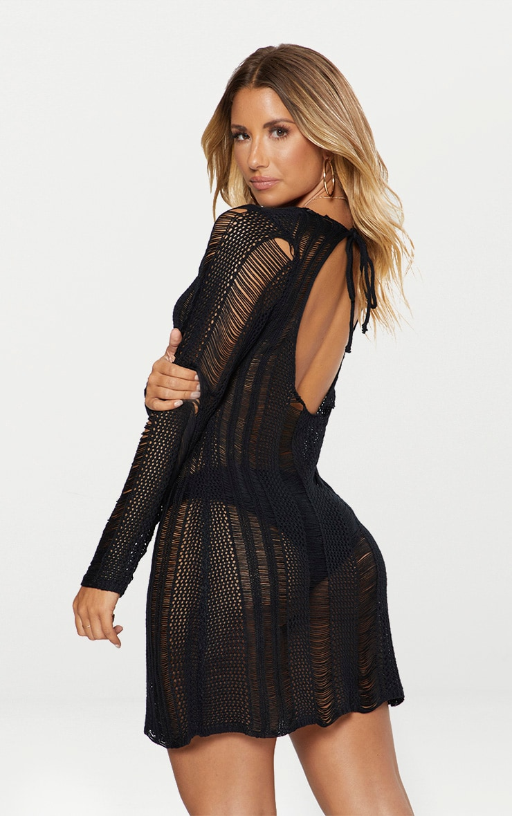 Black Crochet Ladder Dress 2