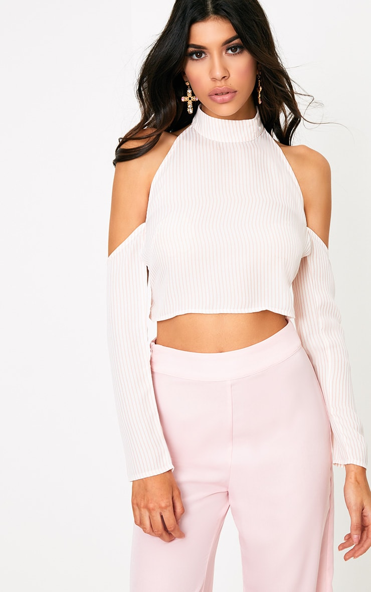 Jazlyne Nude Stripe Backless Cold Shoulder Blouse 2