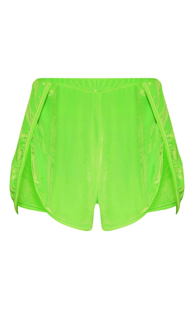 Neon Green Velvet Short 3