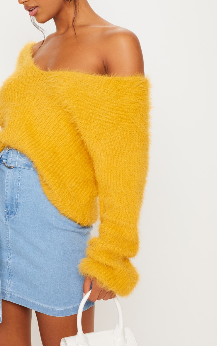 Mustard Eyelash Knitted Sweater 5