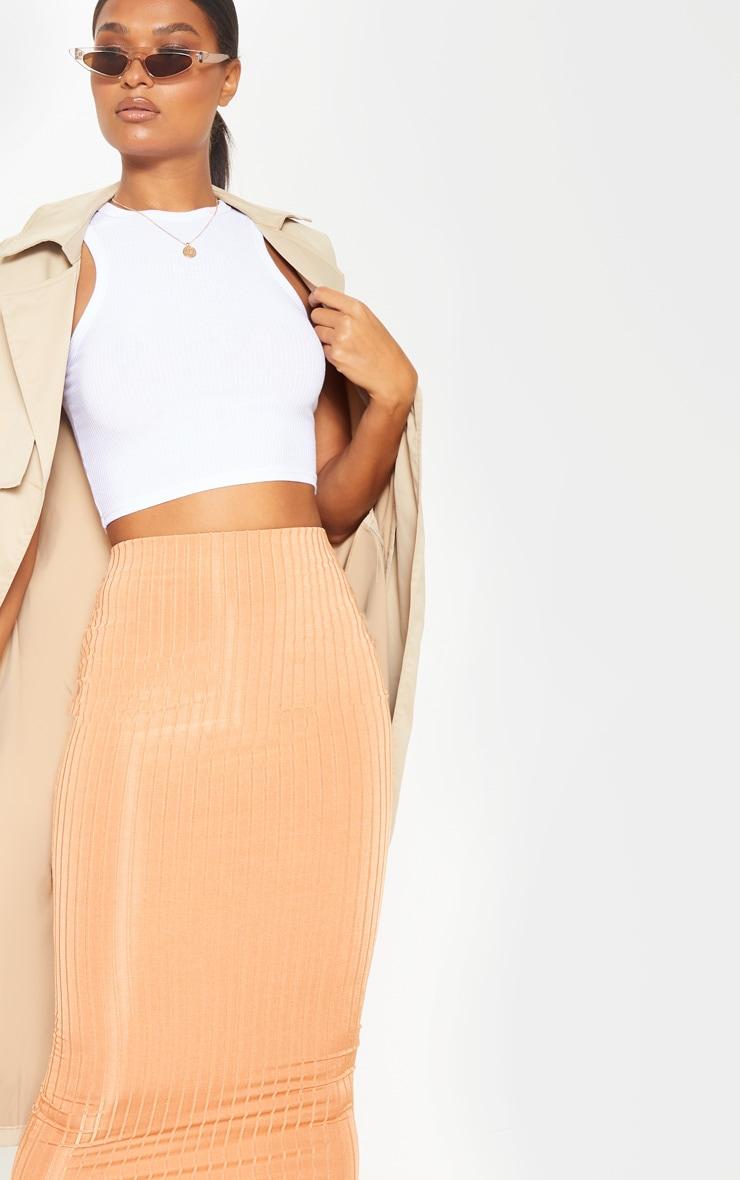 Peach Slinky Rib Midi Skirt  5