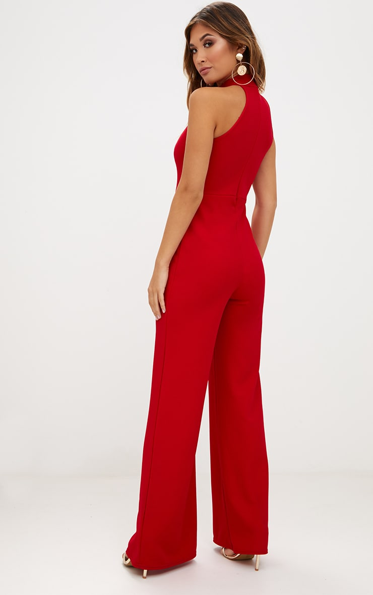 Red Crepe High Neck Jumpsuit 2
