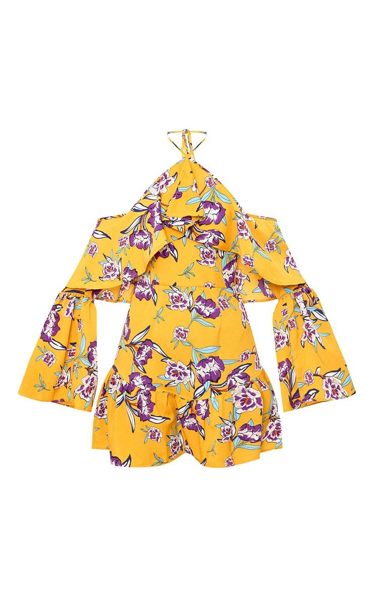 Mustard Floral Print Halterneck Frill Hem Bodycon Dress 3
