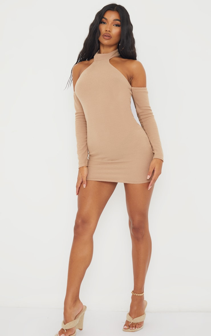 Nude Brushed Rib High Neck Cold Shoulder Bodycon Dress 3
