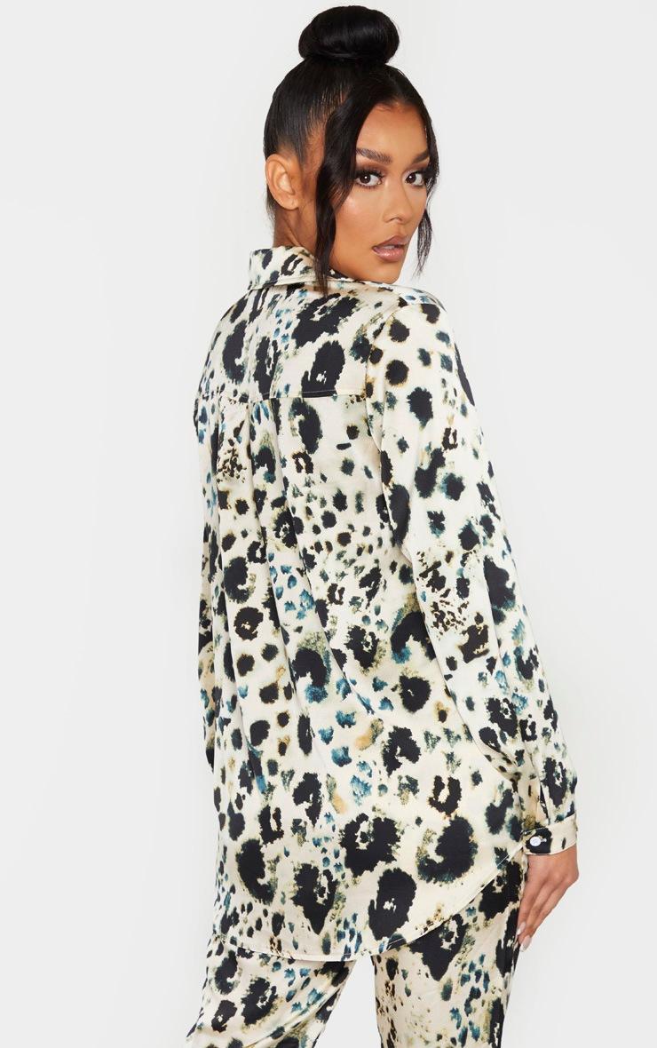 Cream Leopard Print Oversized Shirt 2