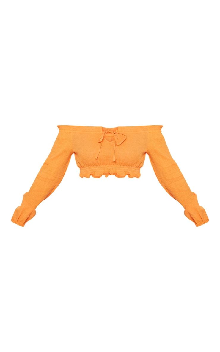 Petite Tangerine Cheesecloth Bardot Crop Top 3