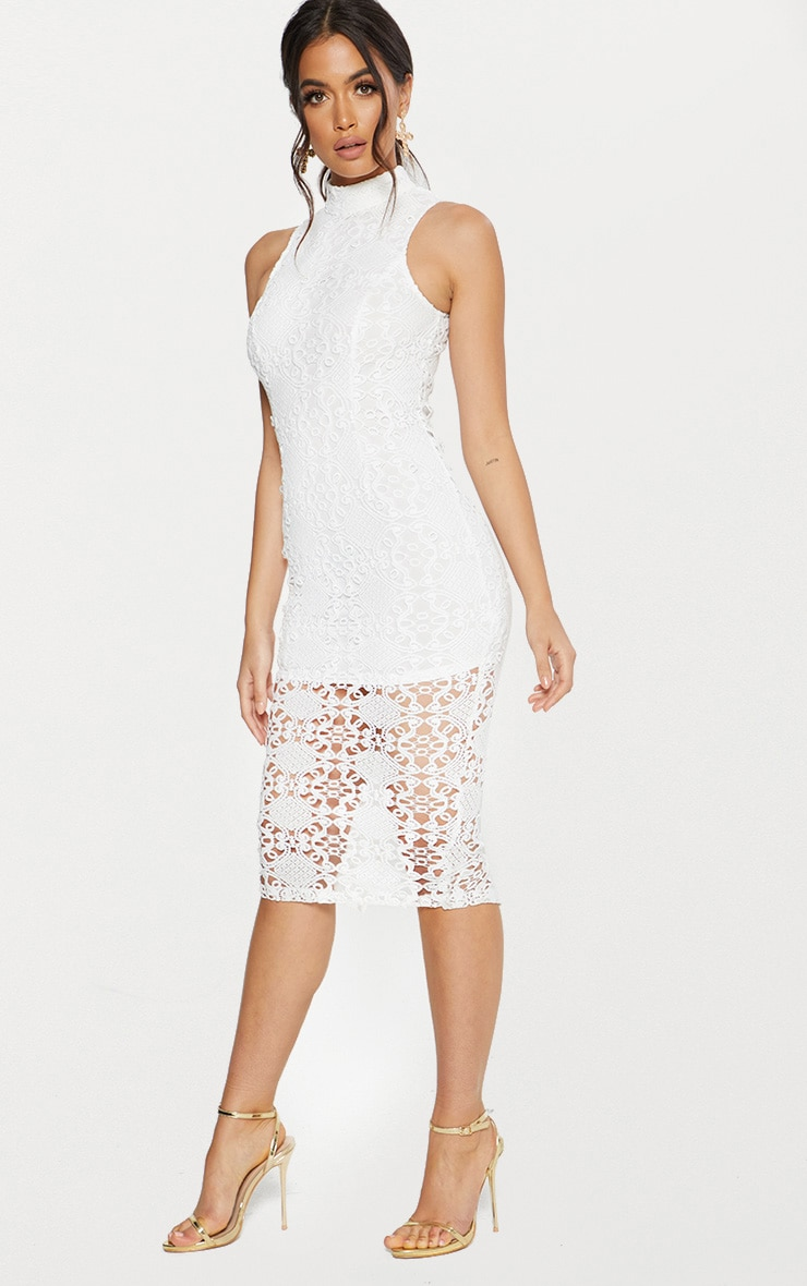 White High Neck Lace Midi Dress 4