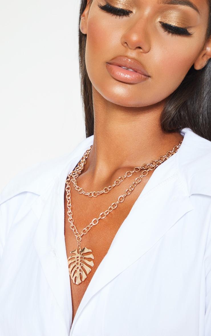 Gold Leaf Pendant Necklace 1