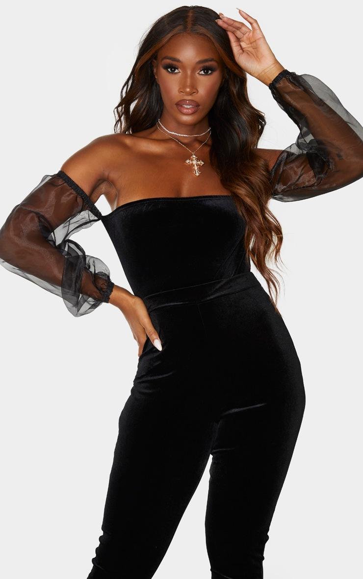 Black Velvet Sheer Puff Sleeve Bardot Bodysuit 2