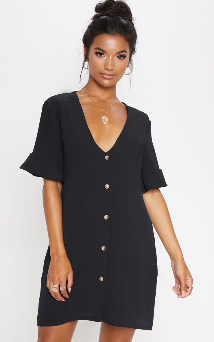 Black Oversized Button Front Shirt Dress  4