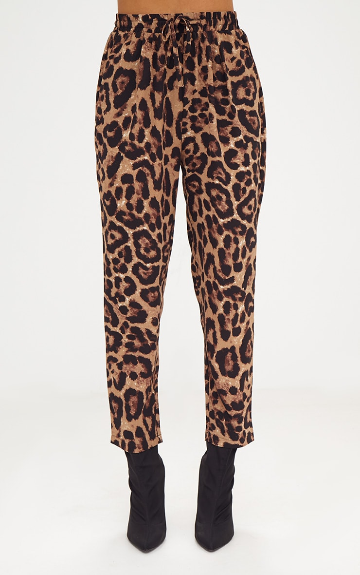 Brown Leopard Print Casual Trouser 2