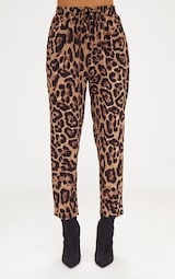 78b42a662e5 Brown Leopard Print Casual Trouser
