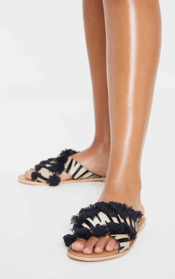 Zebra Cross Strap Tassel Mule Sandal 2
