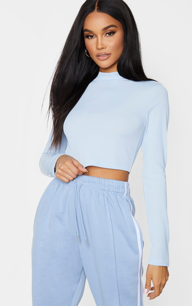 Baby Blue High Neck Ribbed Long Sleeve Crop Top 1