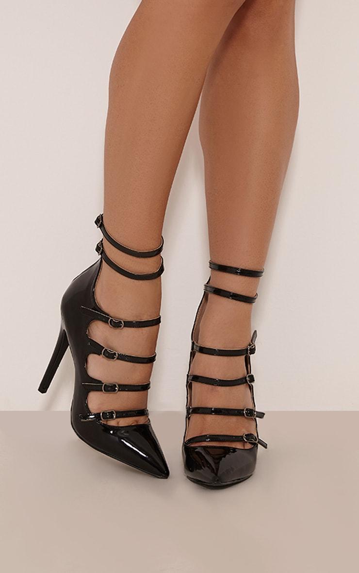 Nessy Black Patent Multi Strap Heels 1