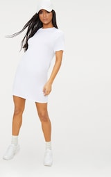 37729a3c285 Basic White Short Sleeve T Shirt Dress image 4