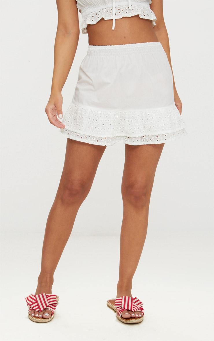 Petite White Broderie Anglaise Detail Mini Skirt 2