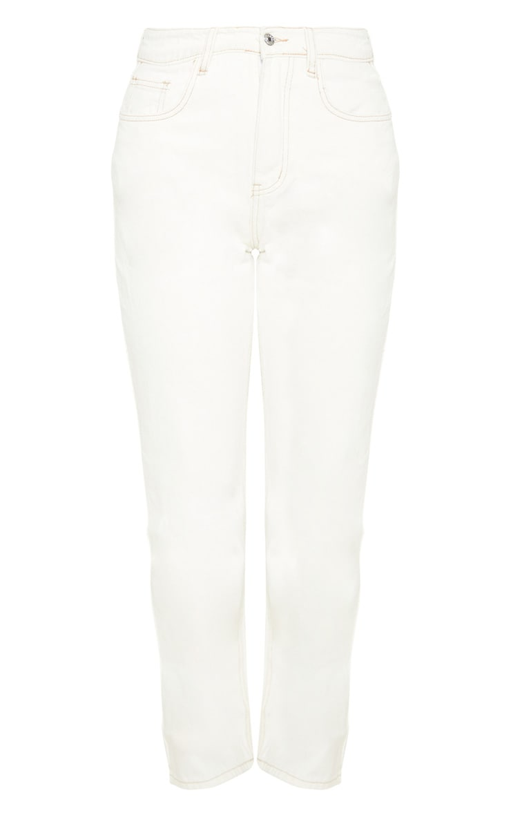 Ecru Straight Leg Cropped Jean 3