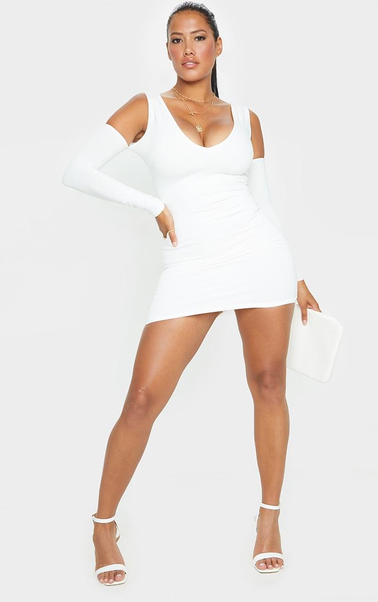 Shape Cream Cotton Plunge Cut Out Detail Bodycon Dress 3