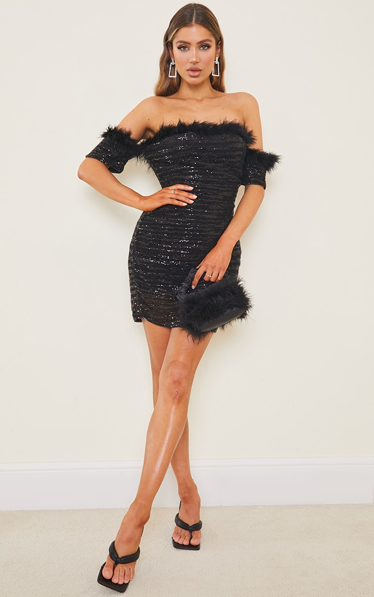Black Sequin Bardot Feather Trim Bodycon Dress 3