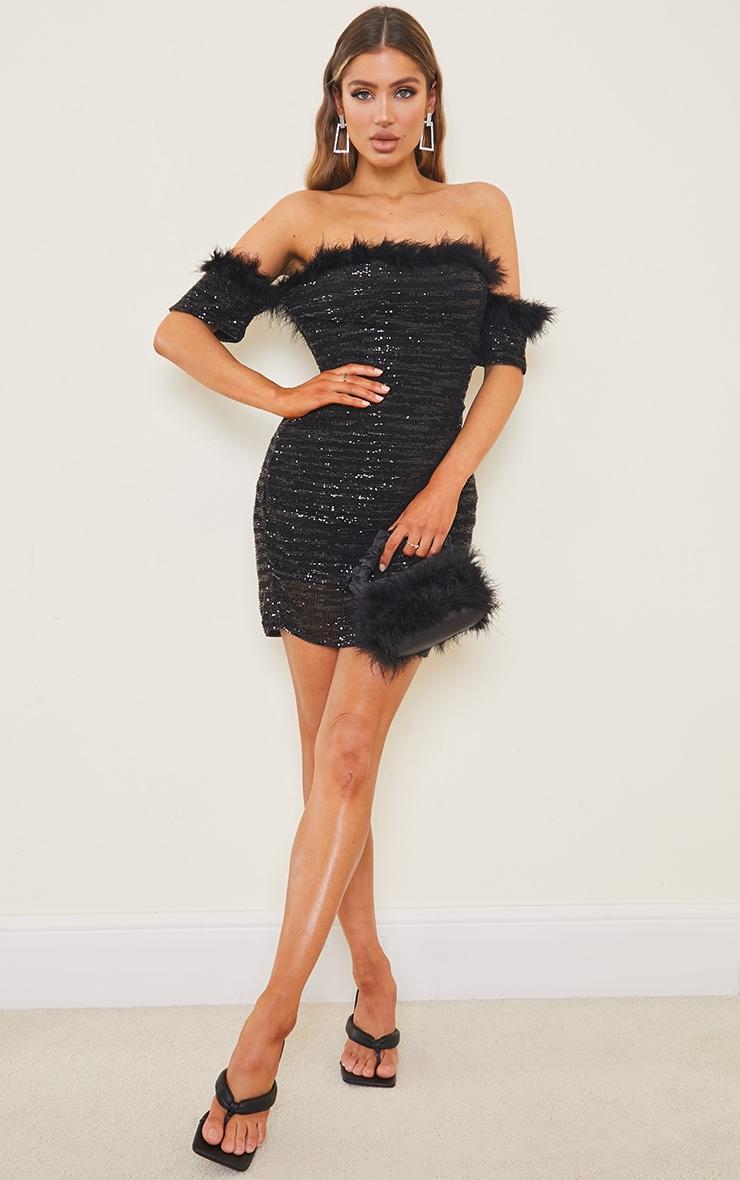 Black Sequin Bardot Feather Trim Bodycon Dress image 3