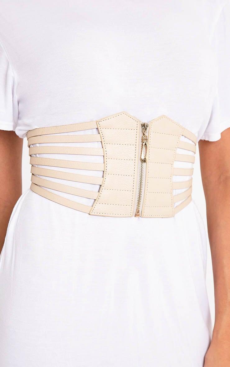 Kimie ceinture-corset couleur chair à fermeture Éclair 3