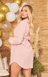 Maternity Pink Checked Oversized Tie Waist Shirt Dress 2